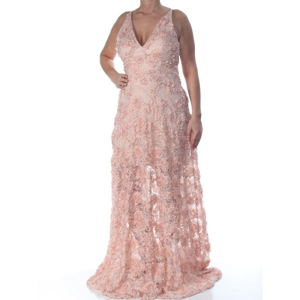 Shop Xscape Womens Pink Floral Lace Gown Sleeveless V Neck