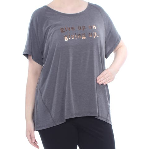 IDEOLOGY Gold Short Sleeve Top Size 3X