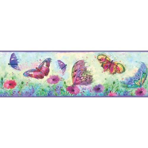 Overstock Brewster HAS01001B  Ava Purple Butterfly Swoosh Border Wallpaper - Purple Butterfly Swoosh (Purple Butterfly Swoosh)