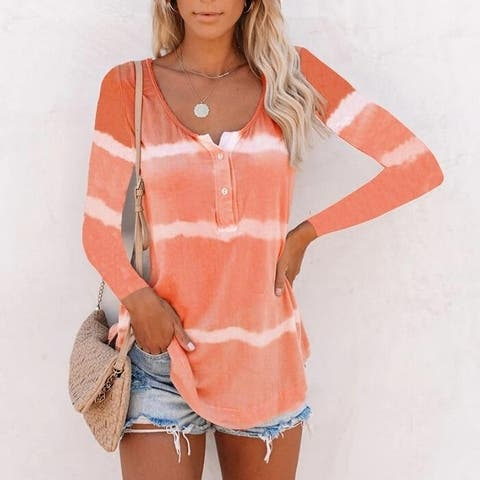 Tie-Dye Long Sleeve Pullover Blouse /Tunic