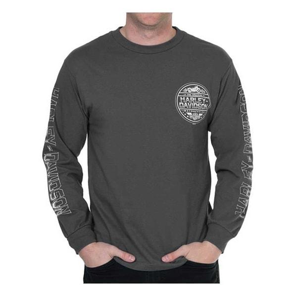 Harley-Davidson Men's Ironside Long Sleeve Crew-Neck Shirt - Charcoal Gray
