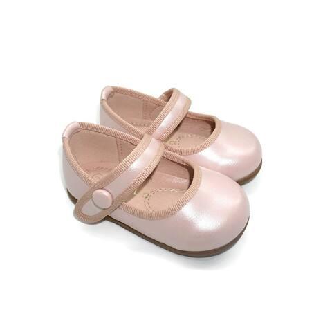 Pipiolo Girls Metallic Pink Strap Mary Jane Ballerina Flats