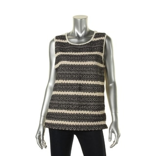 Lucky Brand Womens Embroidered Lace Trim Pullover Top - L