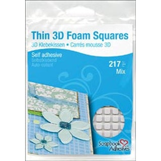 "White (63) .43""X.47"" (154) .25""X.25"" - Scrapbook Adhesives Thin 3D Foam Squares"