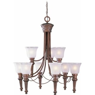 Volume Lighting V3419 Alexandria 9 Light 2 Tier Chandelier with Etched Seedy wit