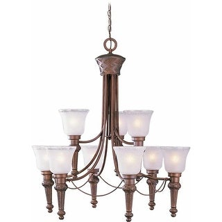Volume Lighting V3419 Alexandria 9-Light 2 Tier Chandelier with Etched Seedy with Clear Edge Glass Bell Shade