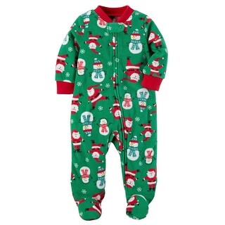 Carter's Baby Boys' 1 Piece Christmas Fleece Pajamas, 6 Months