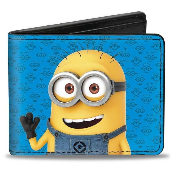 Minion Tom Pose1 + Pose 2 Minion Icons Blues Bi Fold Wallet - One Size Fits most