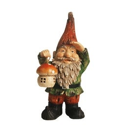 """18"""" Forest Gnome Holding a Mushroom Lantern Solar Powered LED Lighted Outdoor Patio Garden Statue"""