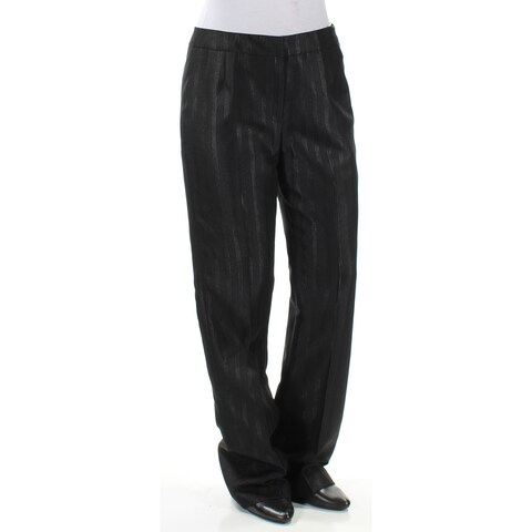LE SUIT Womens Black Striped Straight leg Wear To Work Pants Size: 4