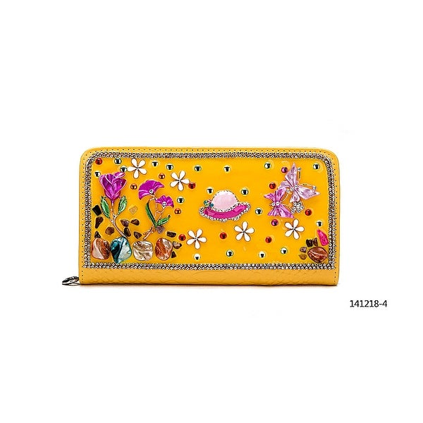 Becool Enamel & Jeweled Zip Around Wallet