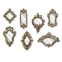 Set of 7 Victorian Style Gold Metallic Ornate Wall Mirrors
