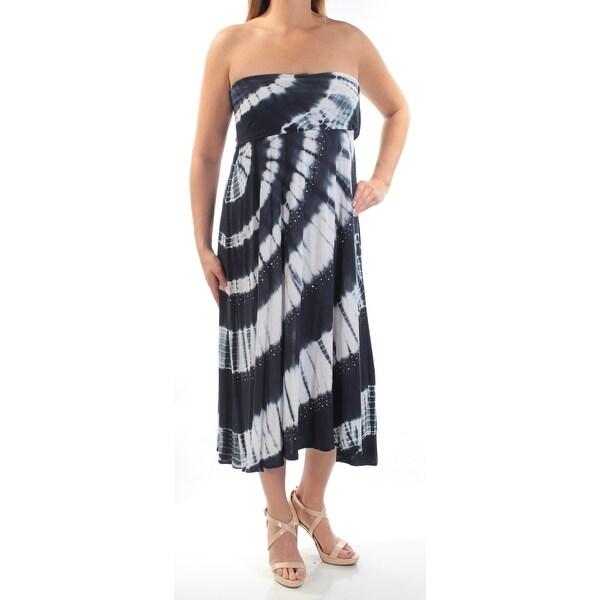 Shop Inc Womens Navy Rhinestone Tie Dye Sleeveless