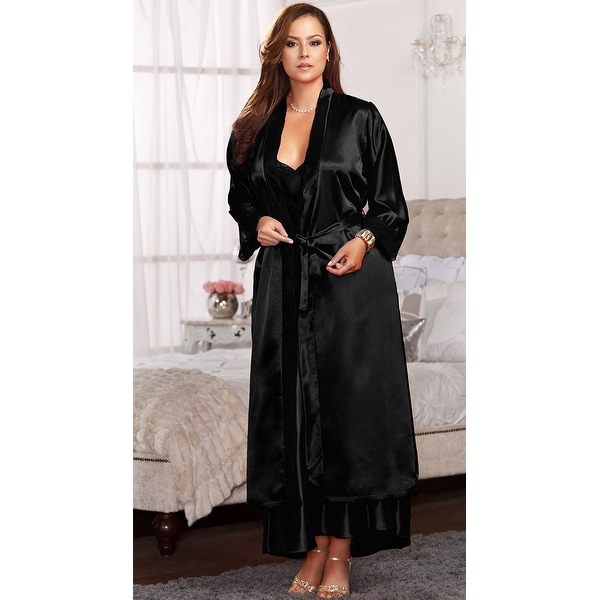1126f69e05fa Shop Plus Size Long Satin And Lace Trimmed Robe, Plus Size Long Robes For  Women - Free Shipping Today - Overstock - 18284843