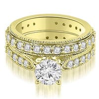 2.00 cttw. 14K Yellow Gold Cathedral Round Cut Eternity Diamond Bridal Set