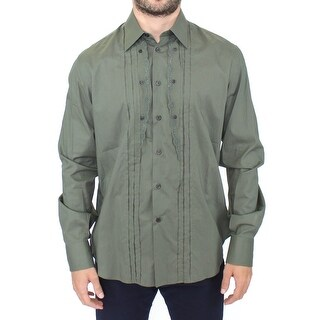 Ermanno Scervino Green Cotton Casual Long Sleeve Shirt Top - it52-xl