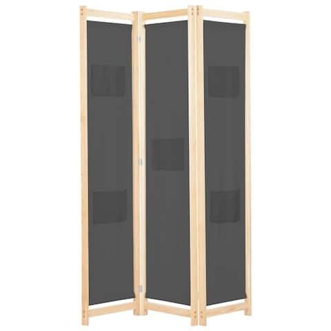 "vidaXL 3-Panel Room Divider Gray 47.2""x66.9""x1.6"" Fabric"