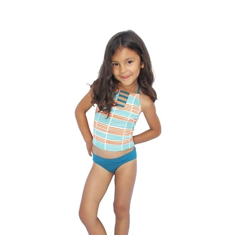Azul Girls Orange Stripe Running Lines Halter 2 Pc Tankini Swimsuit