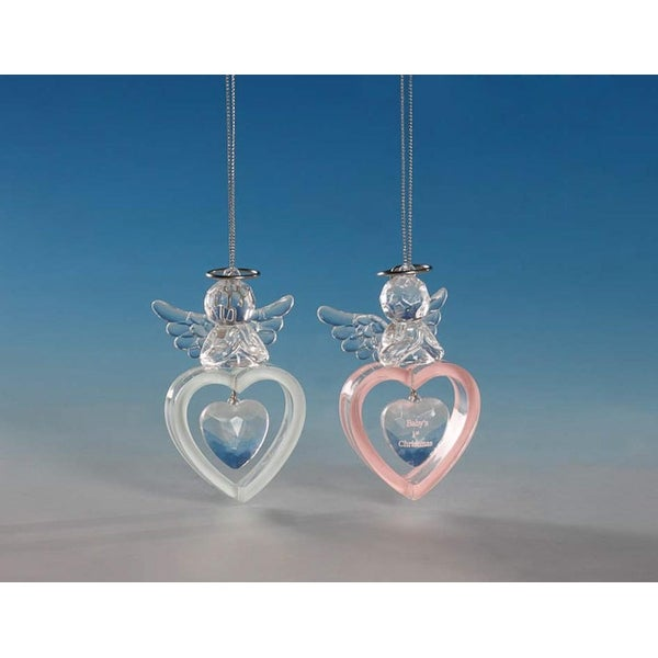 """Club Pack of 16 Icy Crystal Baby's First Christmas Angel Ornaments 3.5"""" - CLEAR"""