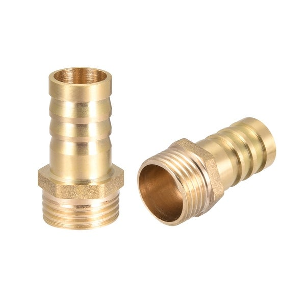 """Brass Barb Hose Fitting Connector Adapter 16mm Barbed x 1/2"""" G Male Pipe 2pcs - 1/2"""" G x 16mm"""