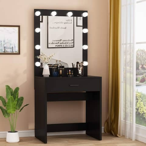 Vanity Table Makeup Table with 10 Cool Light Bulbs and Large Drawer
