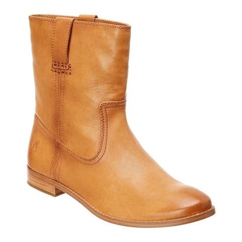 Frye Women's Shoes anna short Leather Closed Toe Mid-Calf Cowboy Boots