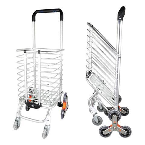 8 Wheel Aluminum Folding Stair Climber Shopping Cart for Grocery Laundry - Eight-wheel Reinforcement