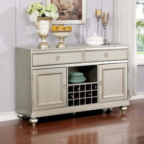 Furniture of America Tase Glam Silver Solid Wood Dining Server