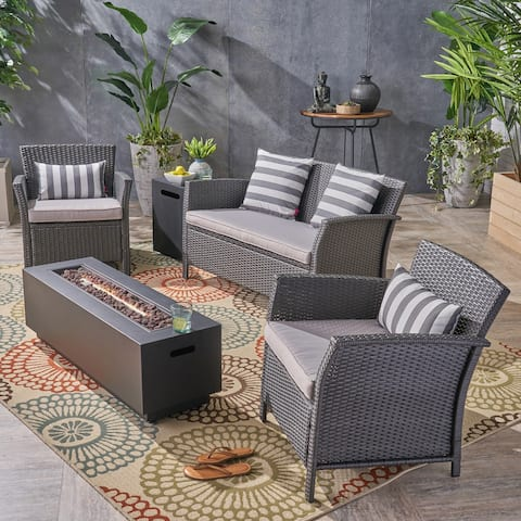 St. Lucia Outdoor 4 Seater Wicker Chat Set with Fire Pit by Christopher Knight Home