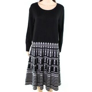 Eliza J NEW Black Womens Size 1X Plus Printed Skirt Sweater Dress