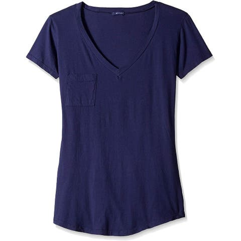 LAmade Women's Top Midnight Blue Size Large L Knit V-Neck One Pocket