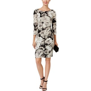 Jessica Howard Womens Petites Party Dress Sequined Ruched