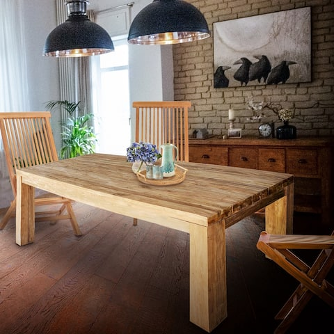 Chic Teak Recycled Teak Wood Marbella Dining Table, 71 Inch