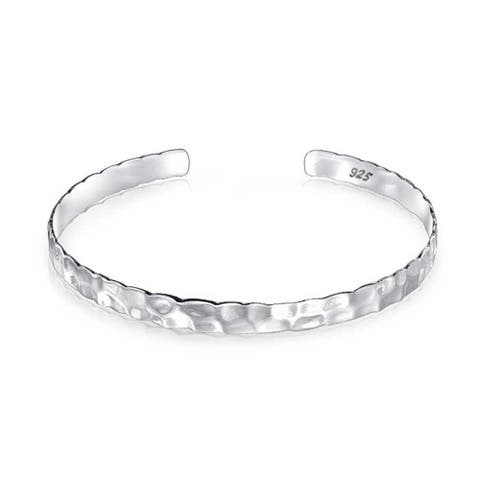 Hammered Flat Round Honeycomb Stackable Bangle Cuff For Women For Girlfriend 925 Sterling Silver