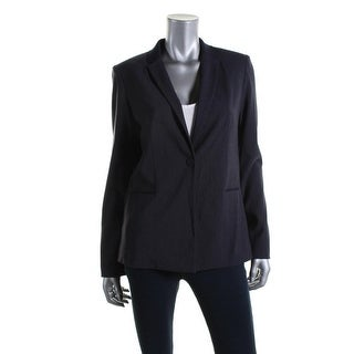 T Tahari Womens Jolie Pinstripe Stretch One-Button Blazer
