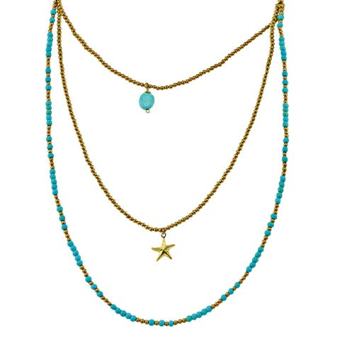 Handmade Bohemian Beach Princess Star Allure Turquoise Brass Beads Layered Necklace (Thailand)