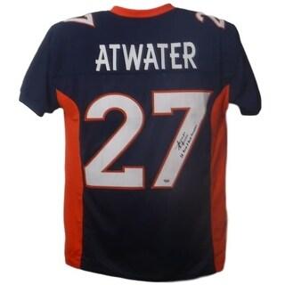 Steve Atwater Autographed Denver Broncos Custom Size XL Blue Jersey Back 2 Back Champs SGC