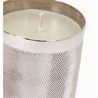 """Set of 3 Silver Color Decorative Catena Wax Filled Candle Holders 5.7"""""""