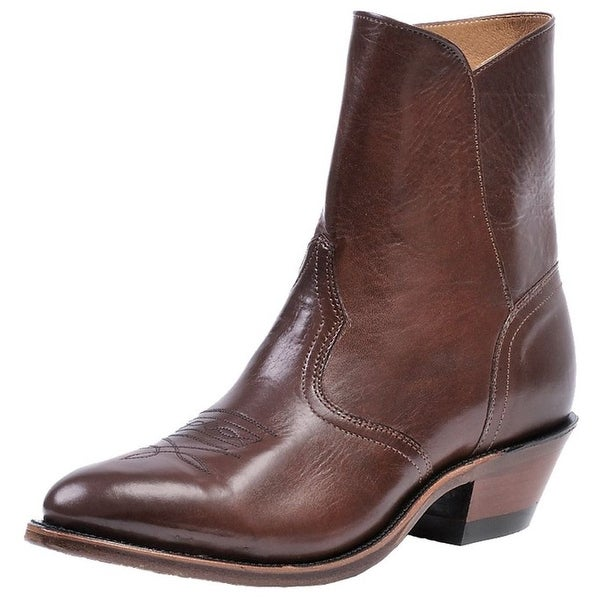 Boulet Western Boots Mens Cowboy Leather Ankle Zip Ranch Hand Tan