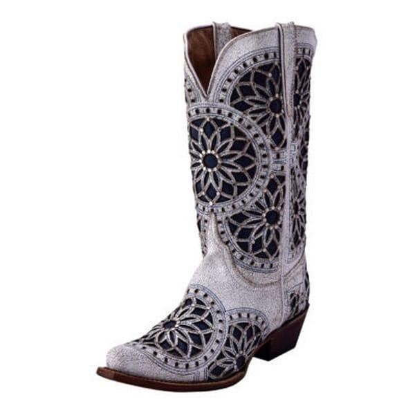 Ferrini Western Boots Women Mandala Snip Leather Cowboy White