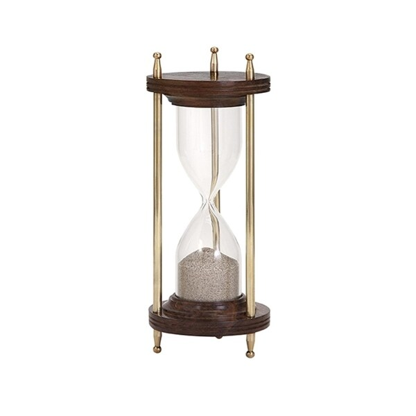 """8.5"""" Time Lapse Brass and Sheesham Wood Large Table Top Hourglass with Gift Box - N/A"""