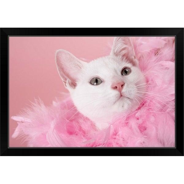 """Cat wearing feather boa"" Black Framed Print"