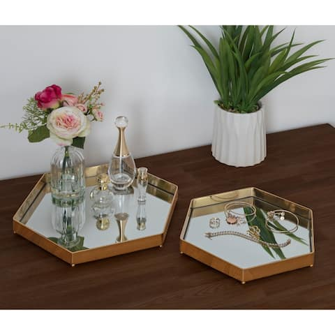 Kate and Laurel Joelyn Decorative Mid-Century Tray, - 2 Piece