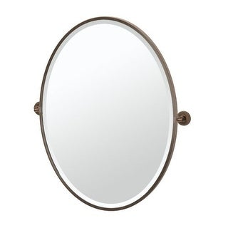 "Gatco 44.9FLG Montgomery 25"" x 33"" Beveled Framed Oval Tilting Wall Mirror"