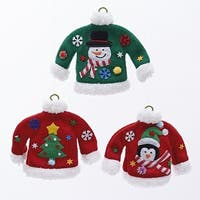 Pack of 24 Vibrantly Colored Decorative Knitted Sweater Wire Hanging Ornament