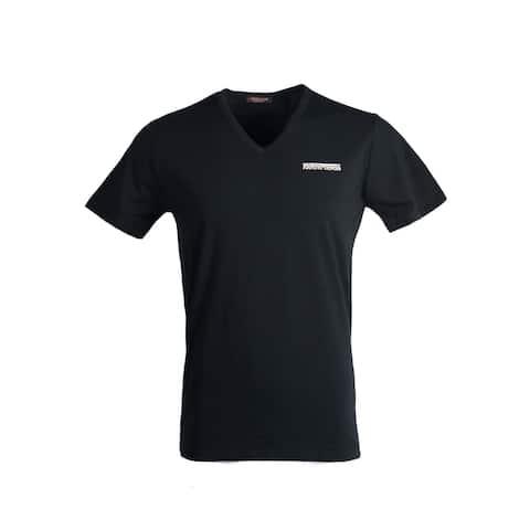 Roberto Cavalli Men Black Solid Logo Undershirt T Shirt V Neck~RTL$350