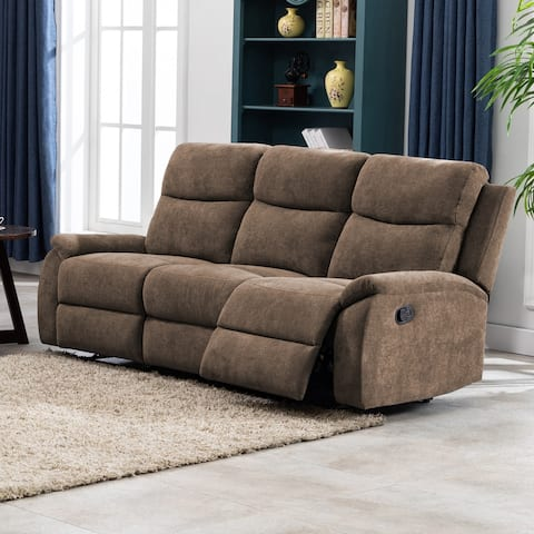Transitional Living Room Faux Leather Sofa