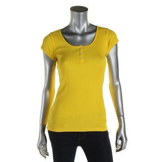 Lauren Ralph Lauren Womens Casual Top Ribbed Knit Henley