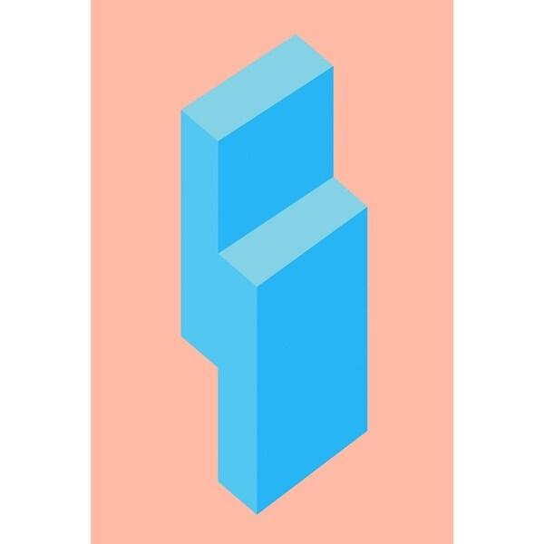 """Peach and Blue Rectangular Wall Art Decor 23"""" x 15"""" - N/A"""