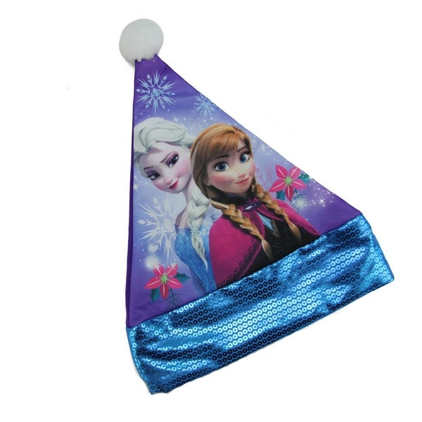 "15"" Disney Frozen Elsa and Anna Children's Purple Santa Hat with Blue Trim"